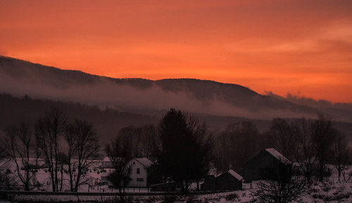 road morning winter red sky orange house mist snow mountains cold nature clouds barn sunrise canon landscape early colorful warm vermont shadows rebelxt vt 2013 pawlet blinkagain bestevergoldenartists besteverdigitalphotography