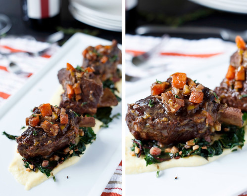 Braised Short Ribs with Swiss Chard and Polenta