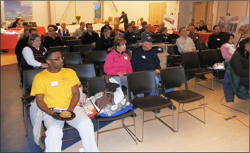 Photo of public in attendance at East Rail Line annual open house at Central Park Recreation Center