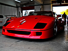 ferrari 288 gto(0.0), ferrari f355(0.0), ferrari testarossa(0.0), race car(1.0), automobile(1.0), automotive exterior(1.0), wheel(1.0), vehicle(1.0), performance car(1.0), automotive design(1.0), ferrari f40(1.0), bumper(1.0), ferrari s.p.a.(1.0), land vehicle(1.0), luxury vehicle(1.0), supercar(1.0), sports car(1.0),