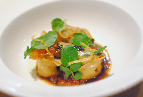 Szechuan Pork Dumpling – Cured Salmon Roe – Spicy Black Vinegar – Tarragon