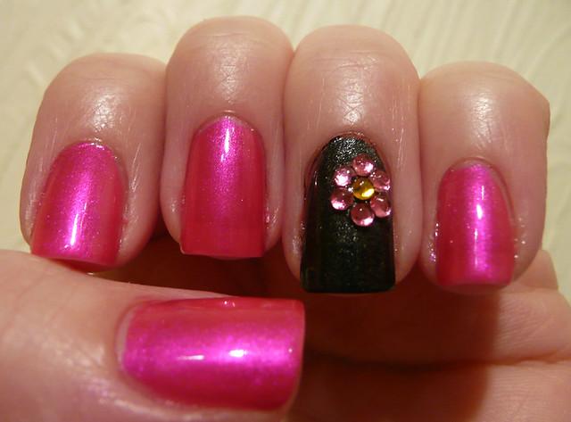 pink grey rhinestone flower 2