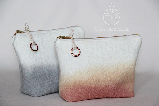 naturally dip dyed wool zipped pouches