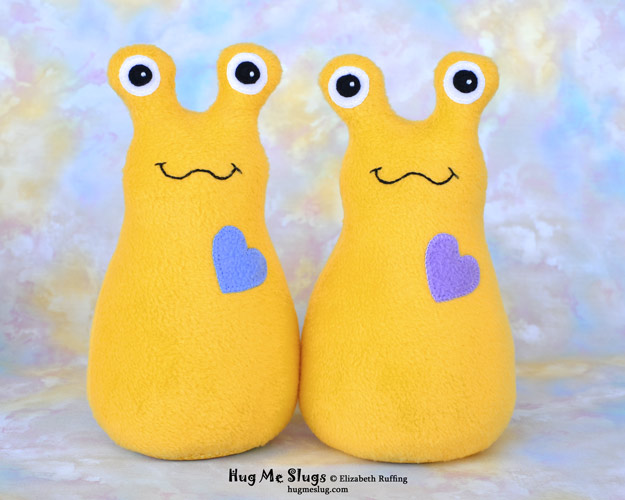 Daffodil fleece Hug Me Slugs, original stuffed animal art toys by Elizabeth Ruffing