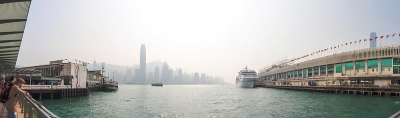 """海運大廈 + 維多利亞港 Ocean Terminal + Victoria Harbour"" / 香港全景攝影 Hong Kong Panoramic Photography / SML.20130315.EOSM.03388-SML.20130315.EOSM.03398-Pano-Cylindrical-178x71.2"