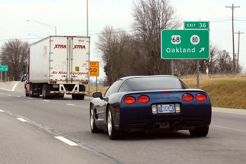 Corvette on the road to Louisville