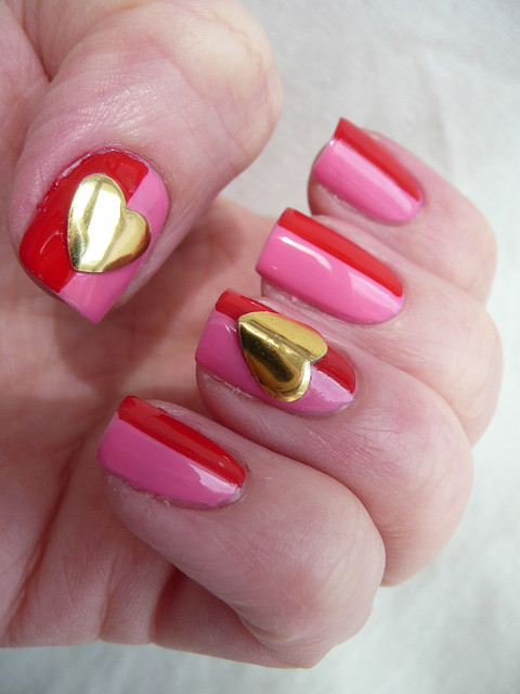 pink red large heart stud mani 4