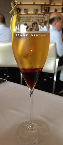 """Erlinda 1942"" - Martell Cordon Bleu, Star Anise, Moet & Chandon Champagne, St. Germain, Creme de Cassis, Rose Water & Lemon Juice"