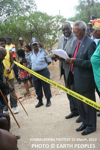 Governor of the Kunene Region Joshua/Hoebeb seems to need security tape between himself and the indigenous peoples of Namibia