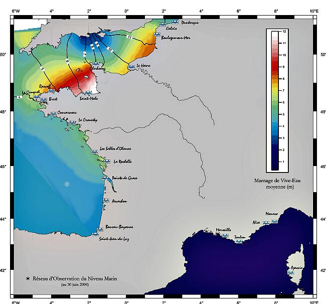 carte du marnage sur les côtes de France météopassion