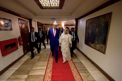 U.S. Secretary of State John Kerry walks with Bangladeshi Prime Minister Sheikh Hasina Wazed at the Prime Minister's Office in Dhaka, Bangladesh, before a bilateral meeting on August 29, 2016.  [State Department Photo/ Public Domain]