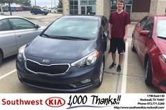 Congratulations Ryan on your #Kia #Forte from Brad Kinzbach at Southwest KIA Rockwall! #NewCar