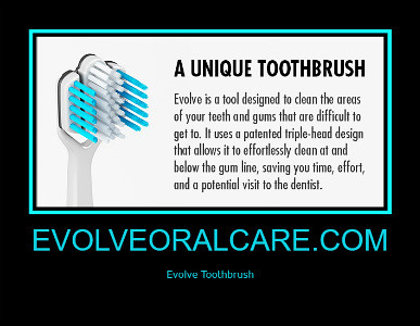 http://evolveoralcare.com/    EVOLVE is a uniquely designed tool which cleans the areas of your teeth and gums that are difficult to reach with an ordinary toothbrush.  #evolvetoothbrush #toothbrush #gingivitis #periodontist #dentist #toothpaste #gumdisea