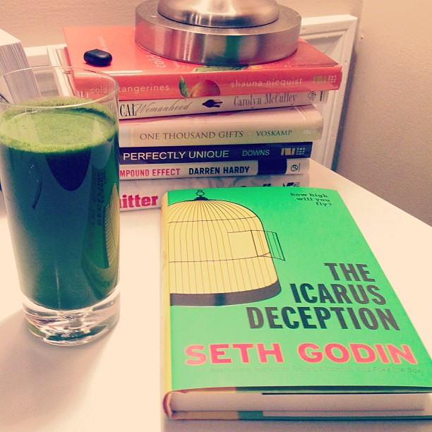 Burst of neon and self-illuminating brilliance tonight with my green juice and Seth Godin's 'The Icarus Deception' How high can you fly? He argues that 'Art is frightening' - The challenge of our time is to find a journey worthy of your heart and your sou