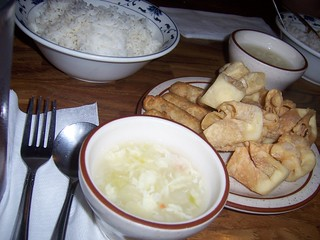Rice, egg drop soup, rangoon, baby egg roll