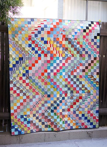 scrappy trip along quilt finished