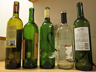 wine bottles with holes drilled in them