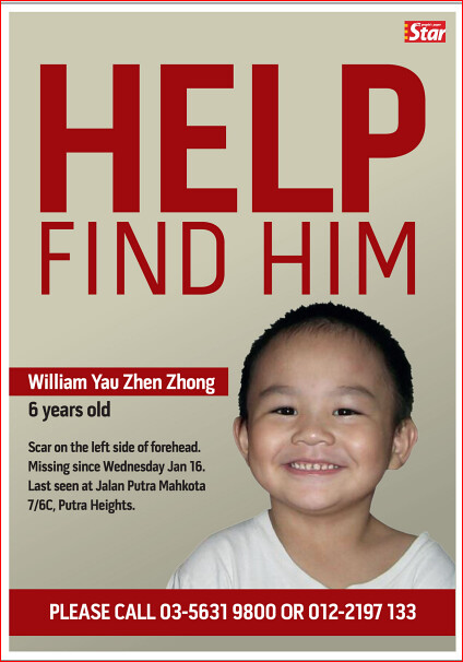 Please help to find missing kid William Yau Zhen Zhong 饒振忠