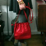 Donna Elissa red ostrich leather bag from tag sale in Great Neck