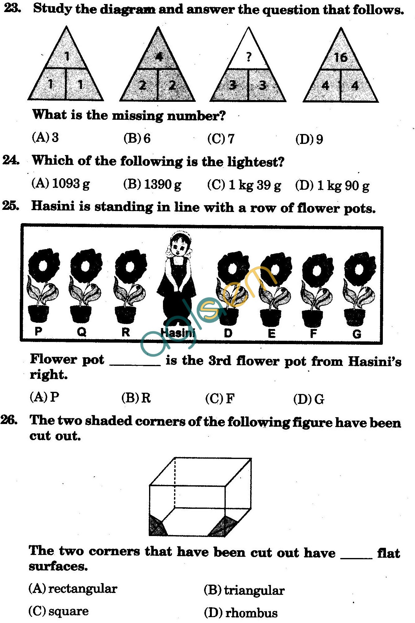 NSTSE 2010 Class III Question Paper with Answers - Mathematics