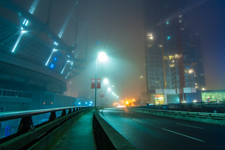 BC Place and Viaduct, foggy