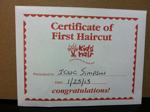 Certificate of first haircut