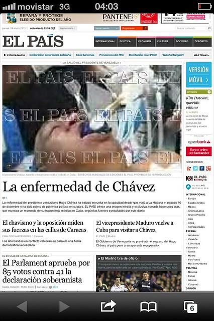 Captura página de El País con la foto falsa