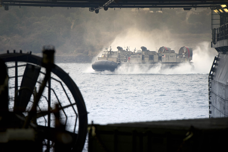 LCAC 30 enters well deck of USS Bonhomme Richard