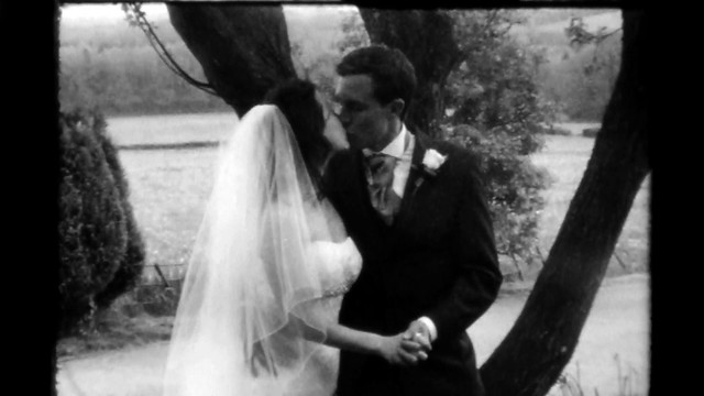 Super 8 Wedding Film TRI X Super 8 under tree kiss