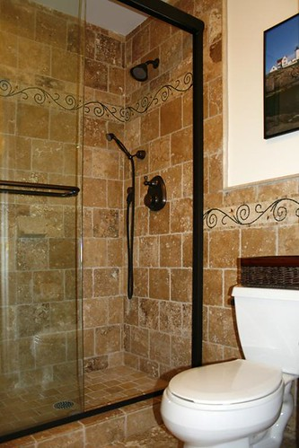 Travertine tile shower