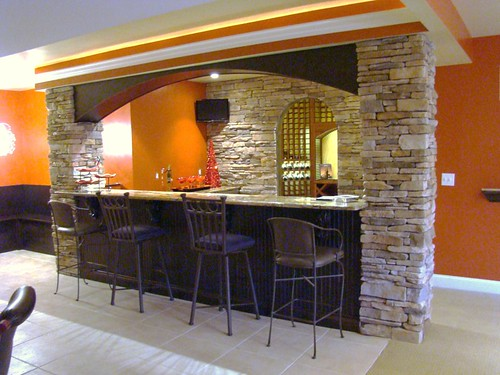 Natural stone pillars for bar area