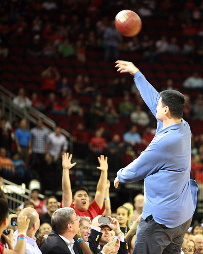 February 8th, 2013 - Yao Ming throws a free ball into the stands at the Rockets-Trailblazers game in Houston