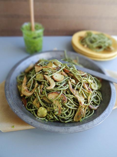 wild mushroom + pistachio pesto pasta