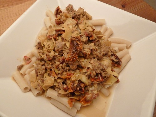 Sausage, Artichokes, and Sun-Dried Tomato Pasta