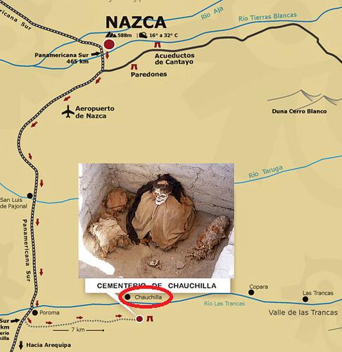 Mapa de situación del Cementerio de Chauchilla (Perú)