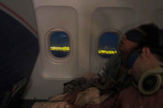 sleeping on the plane
