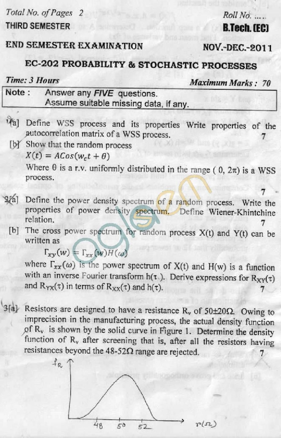 DTU Question Papers 2011 - 3 Semester - End Sem - EC-202