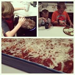 Daddy's birthday lasagna! #kidsinthekitchen #recipes