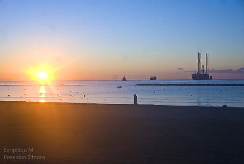sea sky sun beach sunrise platform cyprus limassol