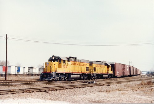 Westbound Union Pacific transfer train approaching Hayford Junction.  Chicago Illinois.  April 1987. by Eddie from Chicago