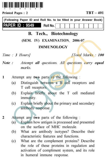 UPTU B.Tech Question Papers - TBT-401 - Immunology