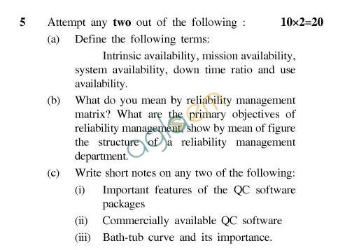 UPTU B.Tech Question Papers - EC-033-Reliability & Quality Management
