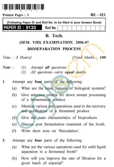 UPTU B.Tech Question Papers - BE-021 - Bioseparation Process