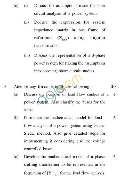 UPTU: B Tech Question Papers – TEE-601-Power System Analysis