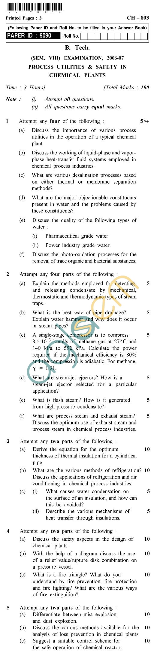 UPTU B.Tech Question Papers -CH-803 - Process Utilities & Safety in Chemical Plants