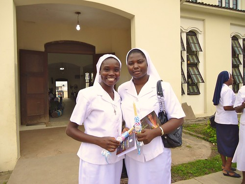 Monica Amina Ibrahim SSL (left), and Matilda Abiodun Owolagba SSL (right) at their final vows ceremony at the Sacred Heart Catholic Cathedral, Akure, Nigeria