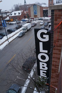 GLOBE sign, installed on side of parking garage