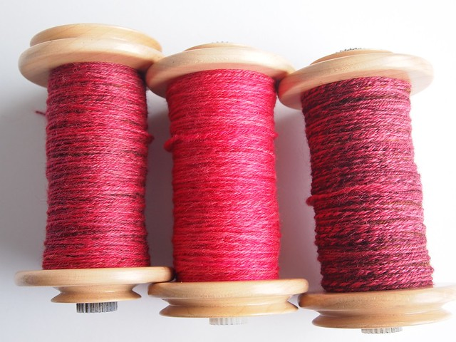 SCF-Sweet Wine-Corriedale-plus 2oz Polwarth in SCF semi solid from Winter 2012 collection-3x chain ply plied together
