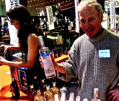 roger displays a vodka from Alaska