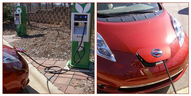 An all-electric auto, the LEAF, charging. . . .